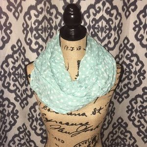 Mint colored scarf with white polka dots